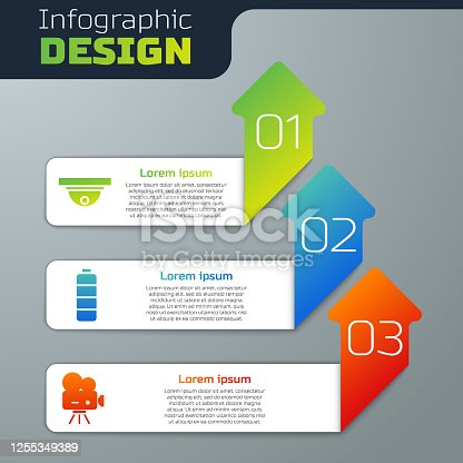 Set Motion sensor, Battery charge level indicator and Retro cinema camera. Business infographic template. Vector