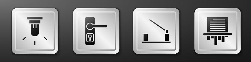 Set Motion sensor, Door handle, Parking car barrier and Paper shredder icon. Silver square button. Vector