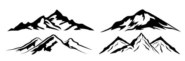 Set mountain ridge with many peaks - stock vector Set mountain ridge with many peaks - stock vector mountains stock illustrations