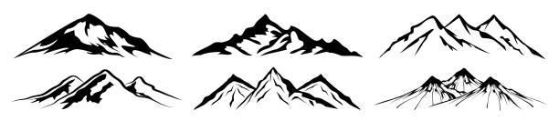 illustrazioni stock, clip art, cartoni animati e icone di tendenza di set mountain ridge with many peaks - vector - monte bianco