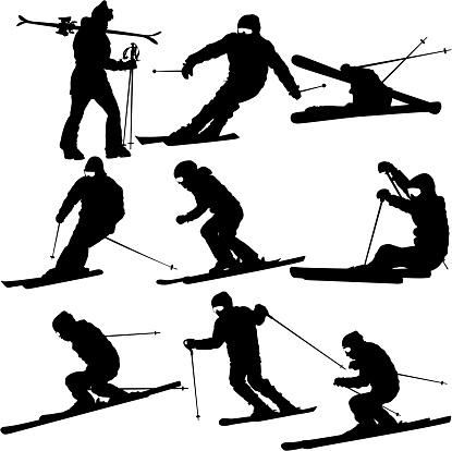 Set mountain skier   speeding down slope. Vector sport silhouett