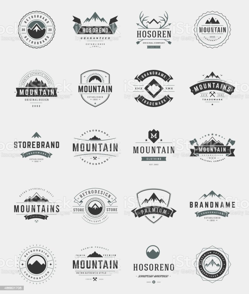 Set Mountains Logos, Badges and Labels vector art illustration