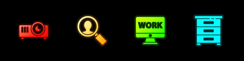 Set Movie, film, media projector, Magnifying glass for search people, Monitor with text work and Drawer documents icon. Vector