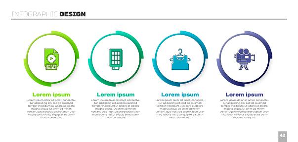 Set MP4 file document, Softbox light, Sleeveless T-shirt and Retro cinema camera. Business infographic template. Vector