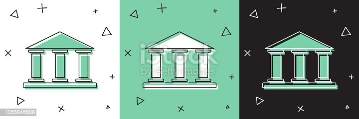 Set Museum building icon isolated on white and green, black background. Vector Illustration