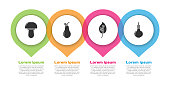 Set Mushroom, Pear, Leaf or leaves and Onion. Business infographic template. Vector