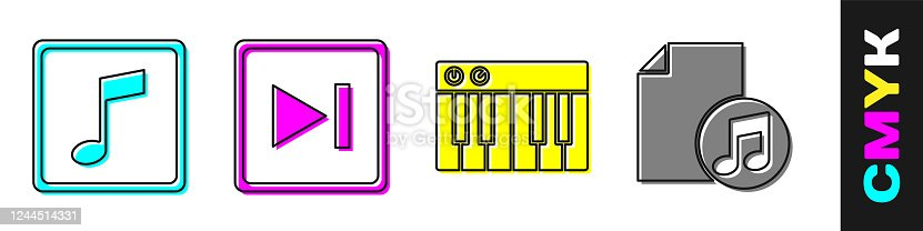 Set Music note, tone, Fast forward, Music synthesizer and Music book with note icon. Vector