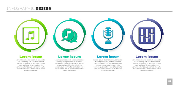Set Music note, tone, Musical note in speech bubble, Microphone and Sound mixer controller. Business infographic template. Vector