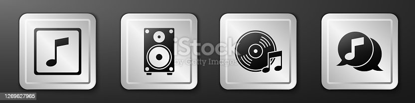 istock Set Music note, tone, Stereo speaker, Vinyl disk and Musical note in speech bubble icon. Silver square button. Vector 1269627965