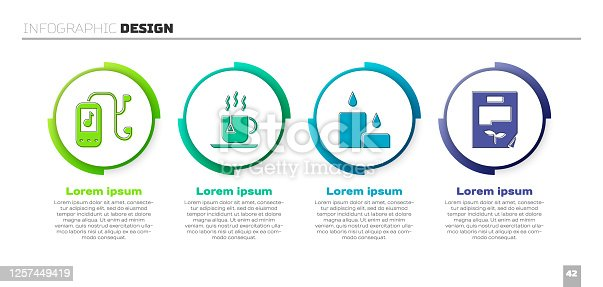 istock Set Music player, Cup of tea with tea bag, Burning candle and Leaf document. Business infographic template. Vector 1257449419