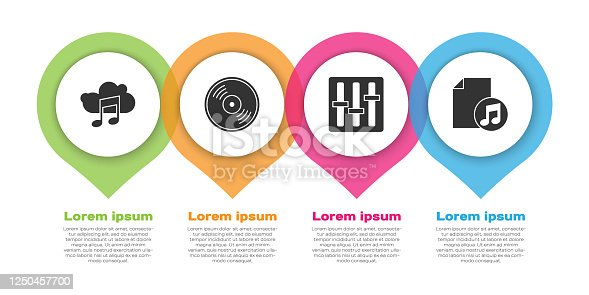 Set Music streaming service, Vinyl disk, Sound mixer controller and Music book with note. Business infographic template. Vector