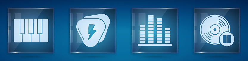 Set Music synthesizer, Guitar pick, Music equalizer and Vinyl disk. Square glass panels. Vector