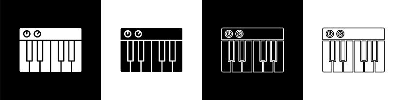 Set Music synthesizer icon isolated on black and white background. Electronic piano. Vector Illustration