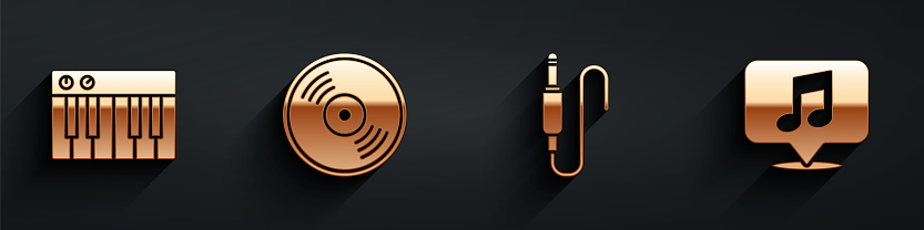 Set Music synthesizer, Vinyl disk, Audio jack and Musical note in speech bubble icon with long shadow. Vector