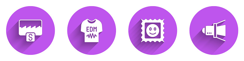 Set Music wave equalizer, T-shirt, LSD acid mark and Movie spotlight icon with long shadow. Vector