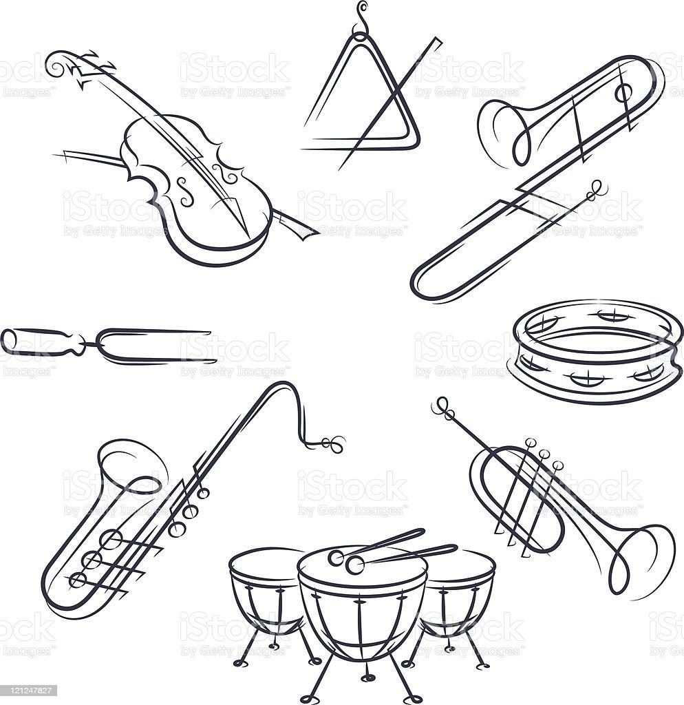 set musical instrument royalty-free stock vector art