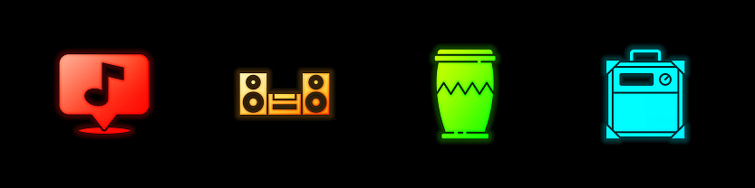 Set Musical note, Home stereo, Drum and Guitar amplifier icon. Vector