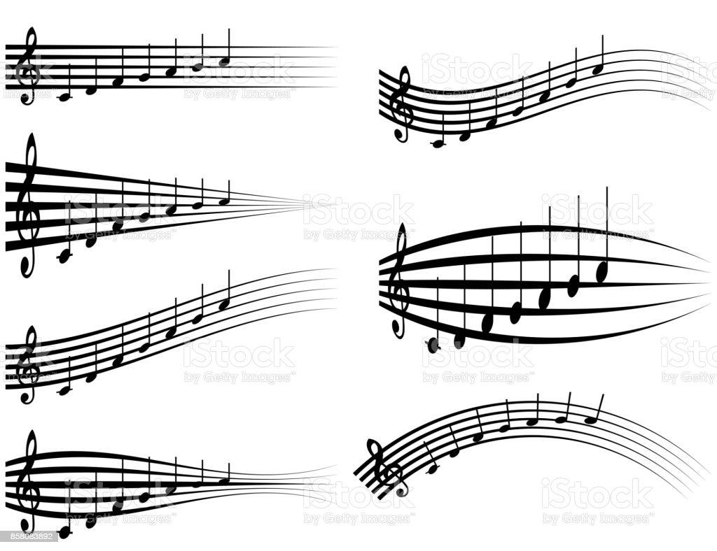 Ilustración De Conjunto Musical Personal Varias Notas Musicales En