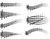 Set musical staff, various musical notes on stave, vector illustration distortion of the notes with the treble clef, to sound design studios or logo