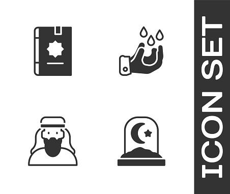 Set Muslim cemetery, Holy book of Koran, man and Wudhu icon. Vector
