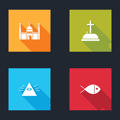 Set Muslim Mosque, Tombstone with cross, Masons and Christian fish icon. Vector