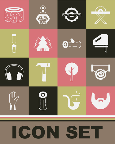 Set Mustache and beard, Two-handed saw log, Electric jigsaw, circular, Christmas tree, Chisel tool, Tree stump and Wooden logs icon. Vector