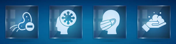 illustrazioni stock, clip art, cartoni animati e icone di tendenza di impostare virus negativi, umani e virus, faccia in una maschera protettiva medica e lavarsi le mani con sapone. pannelli di vetro quadrato. vettore - hand on glass covid