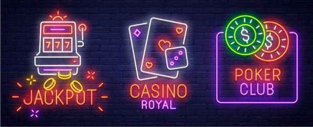 Set neon icon, label, emblem. Casino and Poker. Neon sign, bright signboard, light banner. Set neon icon, label, emblem. Casino and Poker. Neon sign, bright signboard, light banner casino stock illustrations