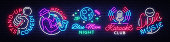 Set neon signs symbols. Live Music, Jazz Music, Blue Moon Night Club, Karaoke, Stand up logos and emblems. Bright Symbols, Light Banner, Night Bright Advertising, Nightlife. Vector illustration.