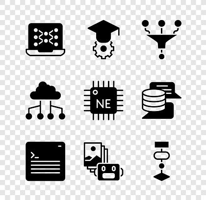Set Neural network, Graduation cap, Funnel filter, Web developer programming code, Artificial intelligence robot, Algorithm, Network cloud connection and Processor CPU icon. Vector