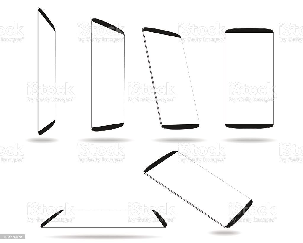 Set new smartphones different angles views isolated on white template vector art illustration