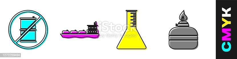 Set No barrel for gasoline, Oil tanker ship, Oil petrol test tube and Alcohol or spirit burner icon. Vector