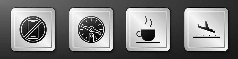 Set No cell phone, Compass, Coffee cup and Plane landing icon. Silver square button. Vector
