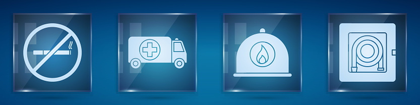 Set No Smoking, Ambulance and emergency car, Firefighter helmet and Fire hose cabinet. Square glass panels. Vector