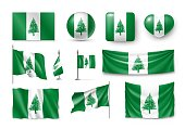 Set Norfolk Island realistic flags, banners, banners, symbols, icon