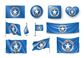 Set Northern Mariana Islands realistic flags, banners, banners, symbols, icon