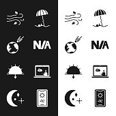 istock Set Not applicable, Comet falling down fast, Wind, Sun protective umbrella for beach, Sunset, Weather forecast, and Moon and stars icon. Vector 1331511820