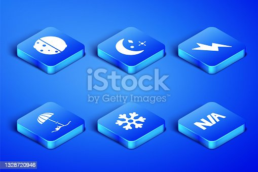 istock Set Not applicable, Eclipse of the sun, Snowflake, Sun protective umbrella for beach, Moon and stars and Lightning bolt icon. Vector 1328720946