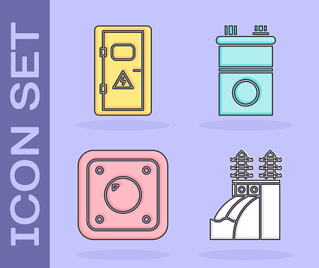 Set Nuclear power plant, Electrical cabinet, Electric light switch and Car battery icon. Vector