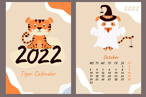 Set - October 2022 calendar and cover. Cute ghost tiger in a hat with spiders, Halloween holiday. Year of the Tiger in Chinese or oriental. Vertical A4 template. Week starts on Monday