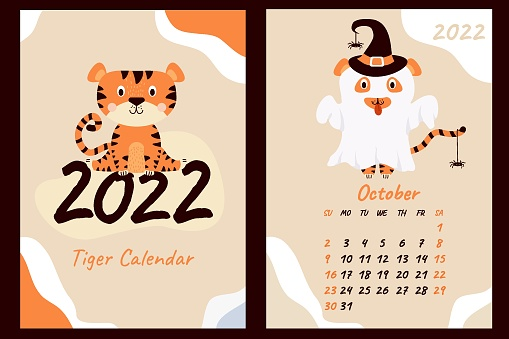 Set - October 2022 calendar and cover. Cute ghost tiger in a hat with spiders, Halloween holiday. Year of the Tiger in Chinese or oriental. Vertical A4 template. Week starts on Sunday