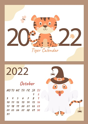 Set - October 2022 calendar and cover. Cute ghost tiger in a hat with spiders, Halloween holiday. horizontal A4 template. Week starts on Monday. Year of the Tiger in Chinese or orienta