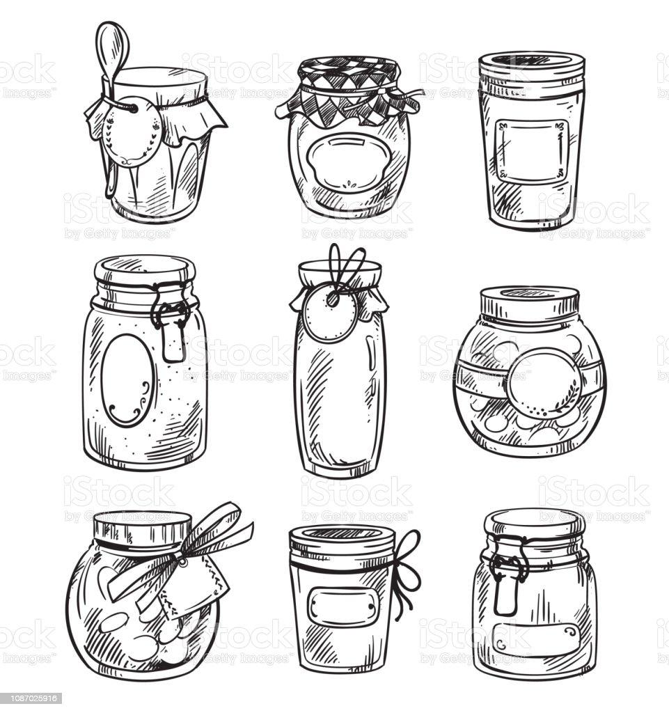 Set Od Hand Drawn Mason Jars With Jam Vector Illustration Stock