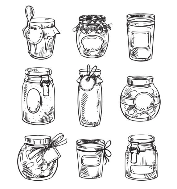 illustrazioni stock, clip art, cartoni animati e icone di tendenza di set od hand drawn mason jars with jam, vector illustration - miele dolci