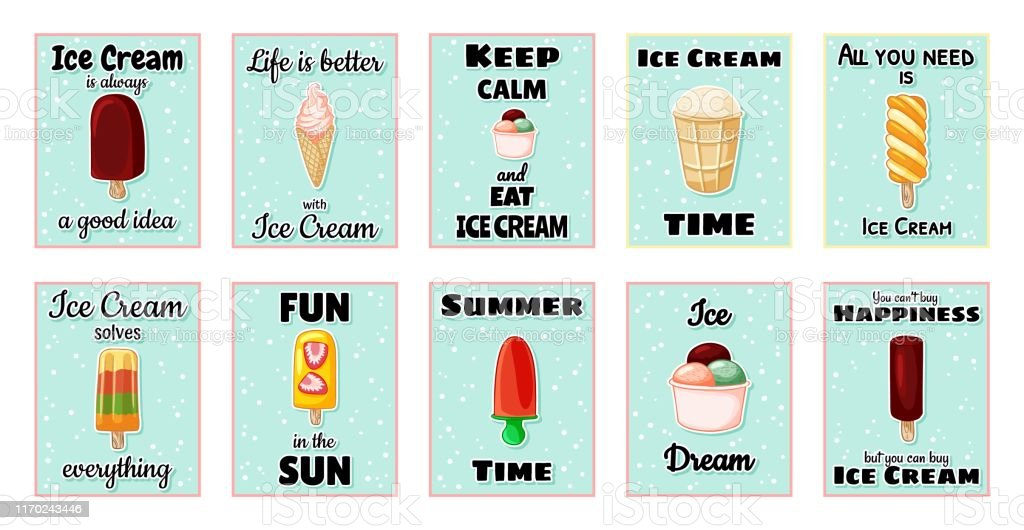 Set Od Ice Cream Cute Cartoon Postcards Creative Romantic