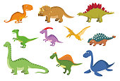 Set of 10 cute dinosaurs in cartoon style vector illustration