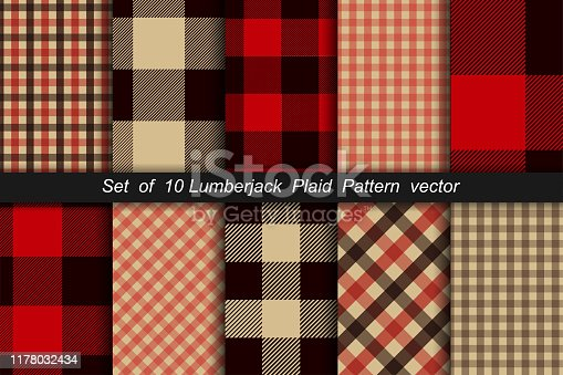 Set of 10 Lumberjack plaid pattern. Lumberjack plaid and buffalo check patterns. Lumberjack plaid tartan and gingham patterns. Vector illustration background
