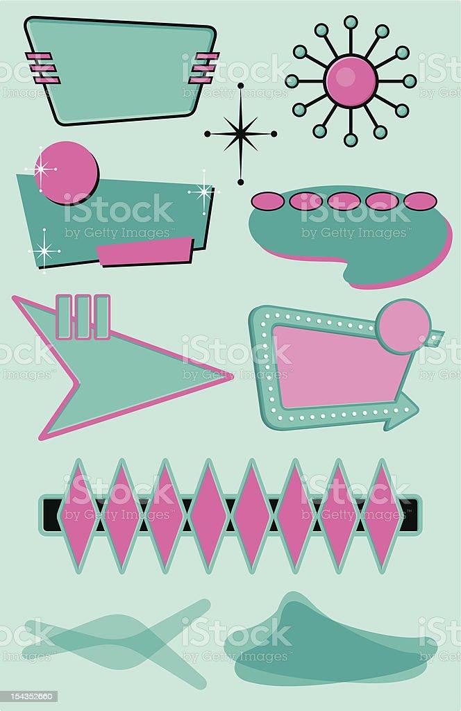 Set of 10 Midcentury Modern Design Elements vector art illustration