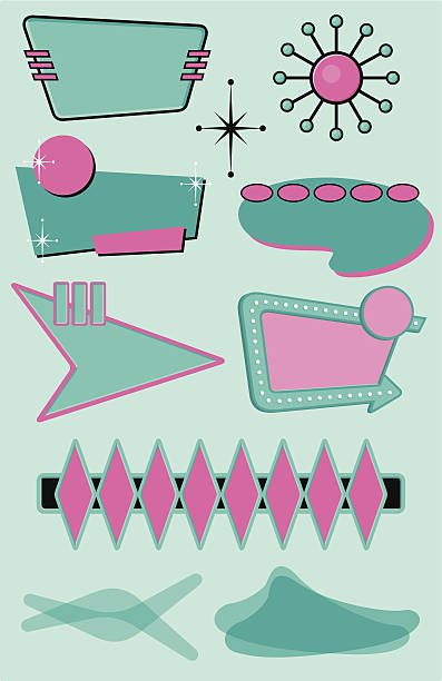 set of 10 midcentury modern design elements - 1950s style stock illustrations, clip art, cartoons, & icons