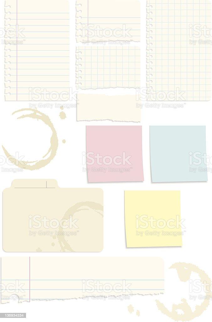 Set of 10 Note Paper Vectors vector art illustration
